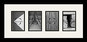 Art to Frames LetterArt-KARI-21503-61/89-FRBW26079 字母艺术/字母摄影框 - KARI - 带 4-4x6 开口。 黑色缎面框架