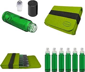 可再填充的滚珠套装不锈钢滚珠包括 6-12 瓶 Portbale 盒和油钥匙工具,适用于精油润肤精华、香水和家居化妆品产品 DIY 绿色 10ML