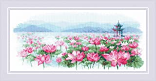 RIOLIS 1869 - Lotus Field. 水上的宝塔 - 十字绣套装 55.88 厘米 x 93.50 厘米 14 支白色 AIDA 17 种颜色