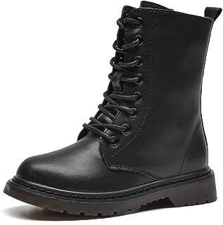 WUIWUIYU 男孩女孩防水系带侧拉链黑色中筒战斗靴平底皮靴