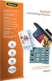 Fellowes 5602001 Easy Fold vorgefaltete 层合层适用于菜單, 祝贺卡, 80微米, A3, 25个