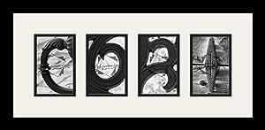 Art to Frames LetterArt-CORI-27528-61/89-FRBW26079 字母艺术/字母摄影框 - CORI - 带 4-4x6 开口。 黑色缎面框架