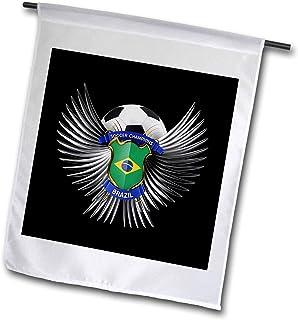 carsten reisinger illustrations 插图–巴西足球 with Crest TEAM 足球巴西巴西–旗帜 12 x 18 inch Garden Flag