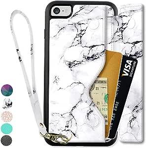 "iPhone 名片夹保护套 iPhone 保护套 zve 防震皮革保护套带信用卡插槽 iPhone8 / 7 4.7"" -White Marble"