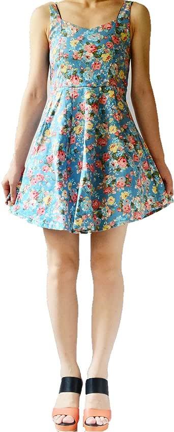 YSJ 女士花卉 V 领褶皱无袖复古迷你裙 M 码 天蓝色 US 0-8 YSJ-A418