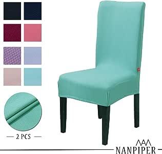 Nanpiper 餐厅椅套氨纶弹力面料家居装饰 绿色 2 PCS NCC002-1