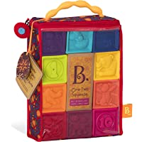 B.Toys 婴儿积木块 - 幼儿积木 - 婴儿教育玩具,适合于6个月及以上儿童,带数字,形状,动物和纹理 - 10个软、多彩堆叠块 - 不含Bpa