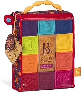 B.Toys 嬰兒積木塊 - 幼兒積木 - 嬰兒教育玩具,適合于6個月及以上兒童,帶數字,形狀,動物和紋理 - 10個軟、多彩堆疊塊 - 不含Bpa