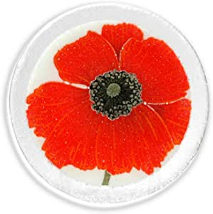 Peggy Karr Handcrafted Art Glass Round Red Poppies Plate, 6-Inch, Multicolor