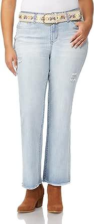 WallFlower 女式加大码经典款束腰弹力传奇靴型牛仔裤