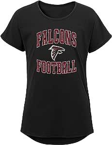 NFL by Outerstuff NFL 亚特兰大猎鹰队青年女孩队蕾丝短袖蝙蝠 T 恤,黑色,青年女孩 XL 码 (16)