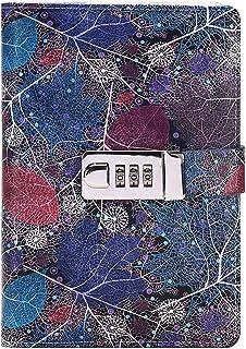 Monique B6 打印精装笔记本内衬页个*制品写日记本 带密码锁 B6 蓝色