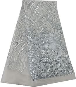 Aisunne 非洲闪光亮片蕾丝面料 5 码尼日利亚法国蕾丝面料婚礼派对礼服 白色 sequin2mini