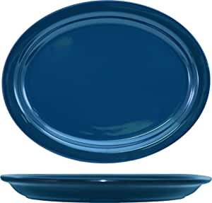 ITI CAN-12-LB Cancun Narrow Rim Platter, 9-3/4-Inch by 7-1/2-Inch, 24-Piece, Light Blue