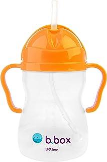 b.box 吸管杯 带创新重力吸管| 易握手柄| 颜色:霓虹橙色 | 8盎司/约240.97克 | 不含酚A | 不含邻苯二甲酸盐和PVC | 适用于洗碗机