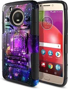 """摩托罗拉 Moto E4 XT1767 XT1768 5"""" 2017(美国版)手机壳,Fincibo (TM) 双层混合装甲重型硬保护盖内置支架软 TPU 皮,多色爪狗 Purple Marvel Nebula Galaxy, Black/Black"""