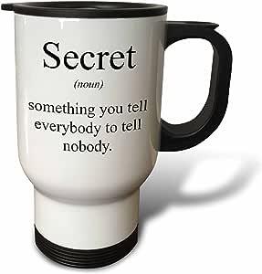 3dRose tm_173339_1 Secret Noun Something You Tell Everybody To Tell Nobody Travel Mug, 14-Ounce, Stainless Steel
