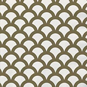 Unique 30 Count Scallop Beverage Napkins, Gold
