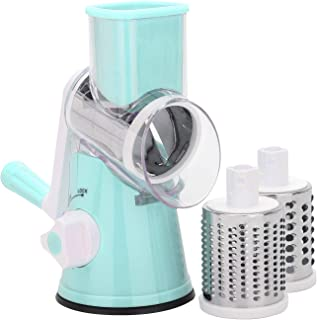 MorNon 旋转式奶酪刨丝器厨房圆形曼陀罗滚筒切片器手动蔬菜切片器带不锈钢削皮器刨丝器螺旋切片器,适用于水果、蔬菜、坚果 蓝色