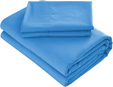 Prime 床上用品床单套装 - 4 件套超细纤维 2000 床上用品- 蓝色 两个