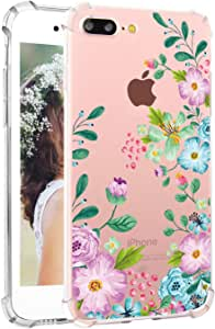 iPhone 7 Plus 手机壳 Hepix Clear iPhone 8 Plus 软弹性 TPU 水彩花朵印花后盖 iPhone 7 Plus iPhone 8 Plus [5.5 英寸]K0323-i7P-D Floral A 01