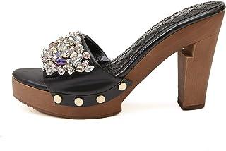 Petitepeds - 女式小脚 - *女士小脚 - 尺寸 3.5 码 拖鞋 - 低跟 - 黑色亮片 - 正式 - Zapatos