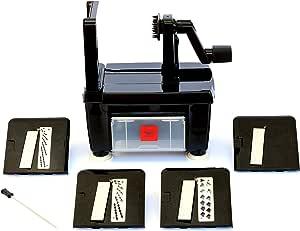Paderno World Cuisine 3 叶片折叠蔬菜切片器/螺旋化器 Pro,抗安装 黑色 均码