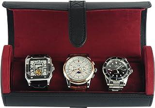 豪华黑色 Saffiano 3 手表手镯旅行手表盒和珠宝卷