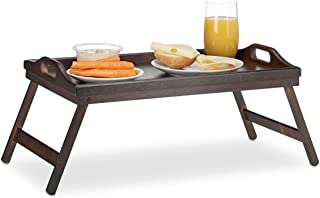 Relaxdays 竹子床上用品,可折叠,手柄,加高的边缘,早餐和餐桌,高宽,高:22x61.5 x 30 厘米,深棕色