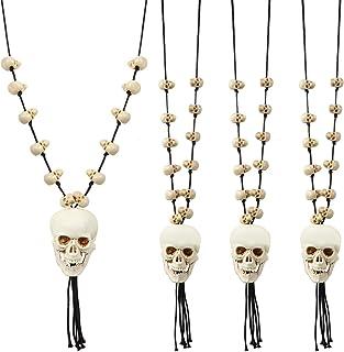 Hicarer 4 件万圣节项链骷髅骨骨架吊坠项链万圣节角色扮演服装项链女士男士派对珠宝配件(骷髅风格)