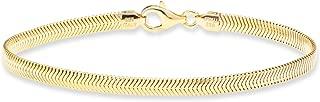 MiaBella 18K 金纯银意大利 4 毫米钻石切割扁平蛇形手链,17.78 厘米-20.32 厘米