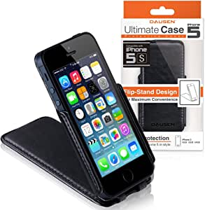 Dausen Black Ultimate Flip Case and Stand for iPhone 5 - TR-RI917BK - Retail Packaging