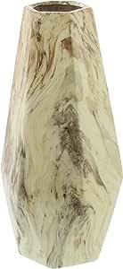 """Deco 79 陶瓷花瓶,白色,27.94cm x 12.7cm 白色/棕色 14"""" x 6"""" 60777"""