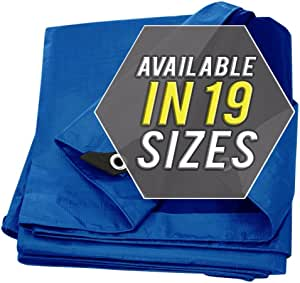 防水布罩银色/黑色重型厚实材料,防水,非常适合篷布顶棚帐篷、船、房车或泳池罩!! !! Blue-Lightweight Protection 16X20