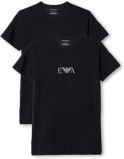 Emporio Armani stretch bi-pack 圆领 t 恤,黑色/白色