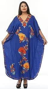 Creativegift 棉质长袍 Kashmiri 绣花长裙 女式 color-2037 Plus Size gpck-2030