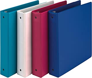 samsill 时尚颜色3扣眼活页簿, cm 圆形戒指,存储活页簿,6件装多色–电粉色,深紫色,蕨类植物绿色