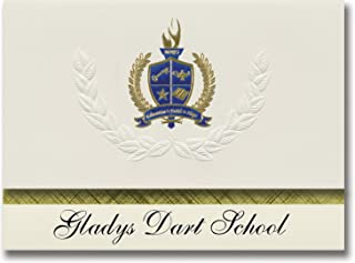 签名公告Gladys 飞镖学校(Manley 温泉,AK)毕业公告,总统风格,精英包装 25 件,带金色和蓝色金属箔封