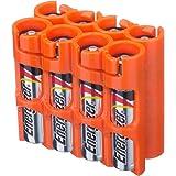 Powerpax Storacell SlimLine AAA 6 件装电池盒,橙色 Holds 8 Batteries AAA8pkORG