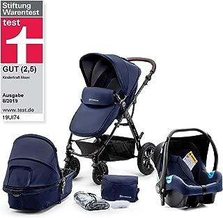 Kinderkraft Moov 多功能三合一組合嬰兒車 帶嬰兒座椅(最大承重:13kg) 深藍色