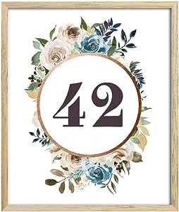可爱的纪念品婚礼*花卉表数字优雅桌面摆卡 Peach (1 to 30) 4 x 6 Inches DS-JSTN18-4x6-1to30