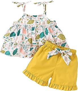 嬰兒幼兒女童花卉服裝吊帶葉荷葉邊上衣襯衫蝴蝶結荷葉邊短褲 2 件套夏季服裝