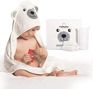 Momcozy 竹制连帽婴儿毛巾,5 件套婴儿浴巾,适合男孩或女孩,婴儿毛巾和毛巾套装可爱熊设计,婴儿沐浴毛巾礼物,适合新生儿、婴儿和幼儿