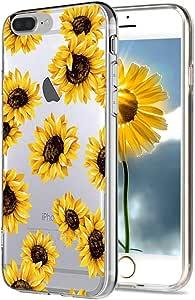 iPhone 8 Plus 手机壳透明,iPhone 7 Plus 手机壳花朵,ZAOX 向日葵图案防震手机壳柔软柔韧的 TPU 保护壳 iPhone 7 Plus (2016)/iPhone 8 Plus (2017) 5.5 英寸 透明