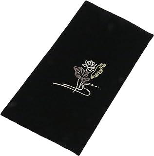 清原 小方绸巾 刺绣念珠花钱夹子 蓮/黒 12×20cm -