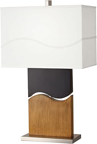 Kichler Lighting 70783CA Glide 1 Light CFL Table Lamp, Distressed  Light Brown and Dark Espresso with Linen Fabric Hard Back Shade