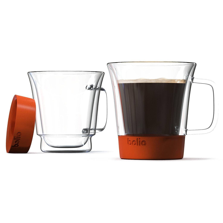 玻利维亚双层玻璃马克杯 2 件套 - 硅胶底层带来更好的触感和更*
