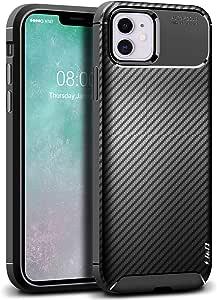 J&D 手机壳适用于 iPhone 11 手机壳,[碳纤维图案] [防摔] TPU 超薄防刮手机壳适用于 iPhone 11 防震 TPU 超薄防刮手机壳 - [不适用于 iPhone 11 Pro/iPhone 11 Pro Max] 黑色