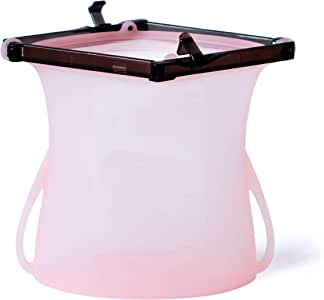 KOSSMO 可重复使用的樱桃硅胶多功能食品收纳袋 – 微波炉和冰箱- Tritan 拉链滑块 – 保持新鲜 非常适合午餐、水果、蔬菜、液体等 粉红色