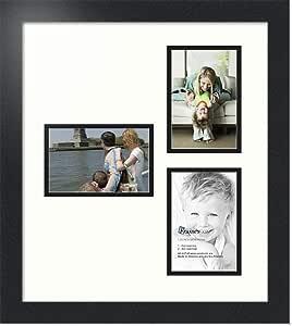ArtToFrames 字母摄影相框 9-5x7 开口。 缎面黑框。 瓷器色 3-4x6 Double-Multimat-387-754/89-FRBW26079